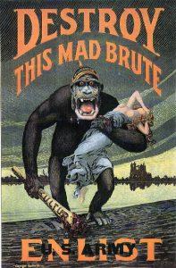 """En af de mest berømte britiske """"had-posters"""". Her fremstilles hele det tyske folk og deres kultur som en sindssyg bavian på voldtægtstogt."""