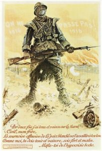 Frans poster, 1918. Som den i den tyske taler palakten til den nationale stolthed og forsvarsvilje: On ne passes pas - de kommer ikke forbi!