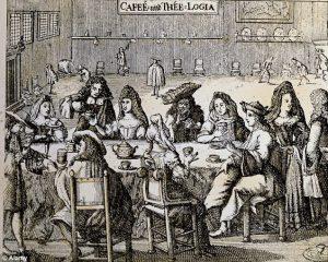 Stik af et tidligt engelsk thé- & kaffehus (midt-1600). Et af de få steder, hvor begge køn kunne samles frit.