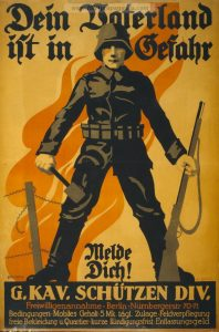En typisk tysk propagandaplakat - den appellerer til fældrelandskærlighed og offervilje - og den handler om tyskere.