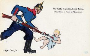 Et eksempel blandt utallige på en i den britiske-amerikanske verden inderligt elsket forestilling: at de tyske soldater med særlig forkærlighed spiddede spædbørn på deres bajonetter. Det gjorde de ikke (!)