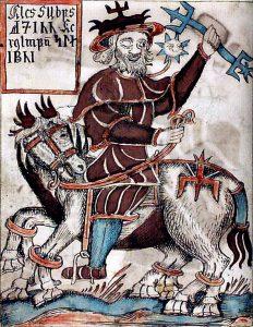 Illustration fra islandsk 1600-tals håndskrift, der viser Odin på sin ottebenede hest Sleipner.