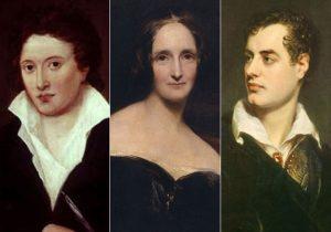 Tre af historiens hovedpersoner: fra venstre Percy Shelley, Mary Godwin (senere Shelley), og lord Byron.