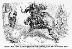 """Vittighedstegning fra """"Punch"""", hvis læsere har fundet det både naturligt og rimeligt, at den afmønstrede soldat sparker den kujonagtige nægter."""