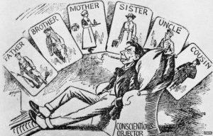 Presset på pacifister og folk, der af religiøse årsager fraskrev sig voldelige midler, vakte regulær væmmelse - en væmmelse, der i høj grad blev stimuleret fra officiel side. At have en samvittighed skulle behæftes med dårlig samvittighed.
