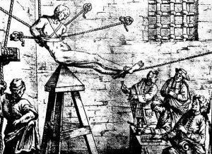 Den middelalderlige tortur for fuld udblæsning... men hverken tegningen eller teknikken er middelalderlig.