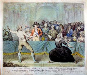 Et samtidigt håndkoloreret stik, der viser dÈon i en fægtekamp i 1787. Han bar altid den afbillede sorte silkekjole, når han fægtede.