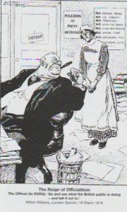 """Satiretegning i Londfon-magasinet London Opinion, 16. marts 1918: Embedsmanden (til DORA): """"Gå ud og se hvad den britiske offentlighed laver - og sig at den skal holde op med det!"""" En tegning som denne ville i sig selv under DORA kunne bringe tegneren i ganske betydelige problemer."""