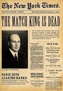 Ivar Kreugers selvmord og den efterfølgende skandale var forsidemateriale på aviser verden over.