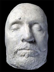 En s.k. dødsmaske - en voksafstøbning af Oliver Cromwell´s ansigt, foretaget ved hans død i 1658.