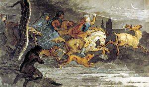 Forestillingen om Kong Volmers vilde jagt kan følges langt tilbage i tiden. I de ældste versioner er det Valfader Odin selv, der er på jagt.